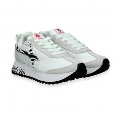 Sneaker nylon bianco e stella zebra