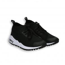 Sneaker maglia calzino nera fondo running