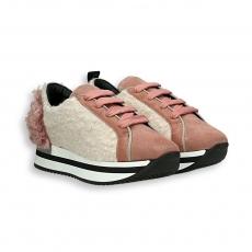 Sneaker lana bianco e rosa fondo run