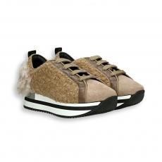 Sneaker lana camel e bianco fondo run