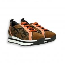 Sneaker camoscio marrone e arancio e pitone fondo run