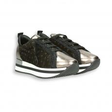 Sneaker laminato e velluto stampa struzzo antracite fondo running