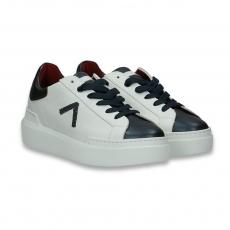 Sneaker pelle bianco e puntale antracite fondo gomma
