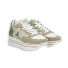 Sneaker camoscio e lurex sabbia triplo fondo gomma