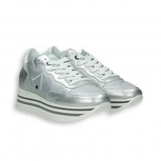 Sneaker laminato argento triplo fondo gomma