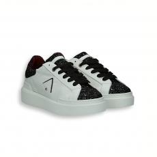Sneaker pelle bianco e punta glitter nero fondo gomma