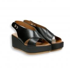 Sandalo incrocio taglio vivo pelle nero zeppa 60 mm.