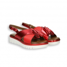 Sandalo incrocio elastico pelle rosso e laminato zeppa 40 mm. fondo gomma