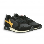 Running camoscio e nylon nero , dettagli giallo fondo gomma