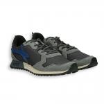 Running camoscio grigio e nylon nero , dettagli blu fondo gomma