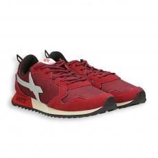 Running camoscio rosso e nylon , dettagli bianco fondo gomma