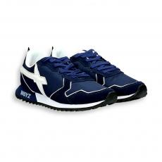 Sneaker camoscio e nylon blu dettagli bianchi fondo running