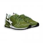 Sneaker camoscio e nylon verde dettagli bianchi fondo running
