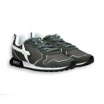 Sneaker camoscio e nylon antracite dettagli bianchi fondo running