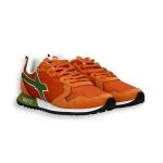 Sneaker camoscio e nylon arancio dettagli verde fondo running