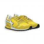 Sneaker camoscio e nylon giallo dettagli bianchi fondo running