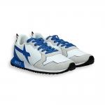 Sneaker camoscio e nylon bianco dettagli azzurri fondo running