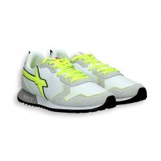 Sneaker camoscio grigio e nylon bianco dettagli fluo suola running