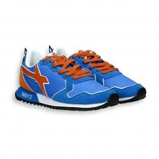 Sneaker camoscio e nylon blu dettagli arancio suola running