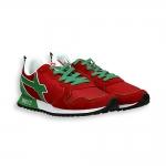 Sneaker camoscio rosso e nylon dettagli verde suola running