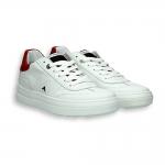 Sneaker tennis pelle bianco e dettaglio rosso fondo gomma