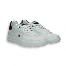 Sneaker tennis pelle bianco e dettagli nero fondo gomma