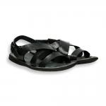 Sandalo incrociato pelle vintage testa moro fondo gomma