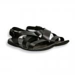Sandalo incrociato pelle vintage nero fondo gomma