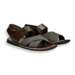 Sandalo frate canvas incrociato e pelle fondo gomma