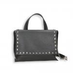 Postina piccola pelle nero e borchie con tracolla e catena staccabili cm. 29x12h25 cm.