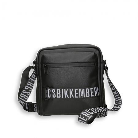 BIKKEMBERGS Borsa 24 ore logo 2 manici eco pelle nero
